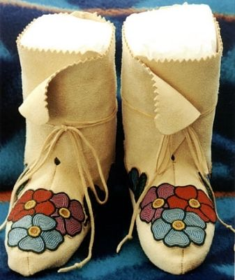 High-Cuffed Southeastern Woodlands Floral Moccasins   Materials: Leather, felt, Czech glass seed beads, and simulated sinew. -  Martha Berry, Cherokee