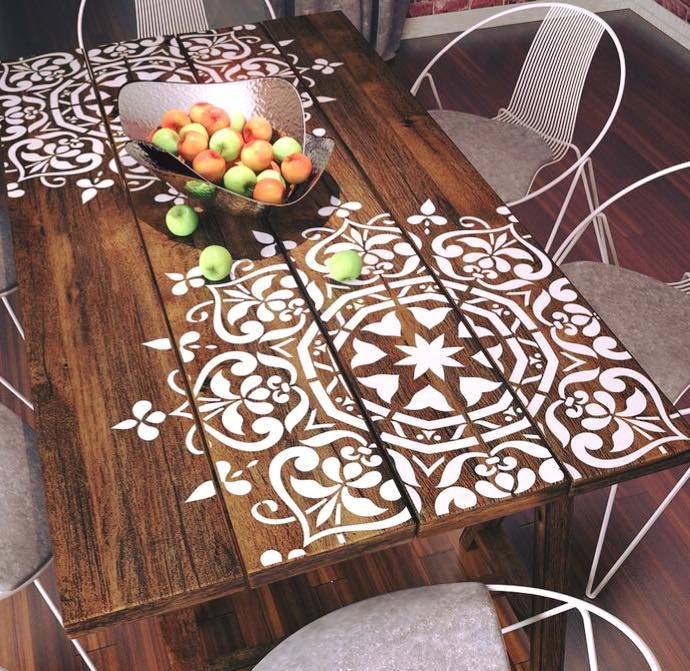 Loving the idea of popping a Mandala stencil on an old wooden dinner / Coffee table