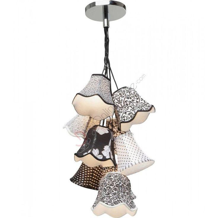 kare design lampadario ornament 9 cappelli in tessuto bianco e nero