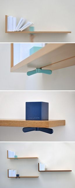 "Hold on Tight bookshelf by ColleenAndEric.com - Even in the digital age, we all still have personal libraries of books we just can't let go of. Use the Hold on Tight bookshelf to keep your most treasured books upright, on display, and close at hand. A brightly-coloured aluminum cube and oversized wing nut serve as a sliding bookend which can be adjusted and secured wherever it is needed, whether your book collection is growing or shrinking. Offered in Beech, Walnut and Oak. (41""L x 11""H x…"