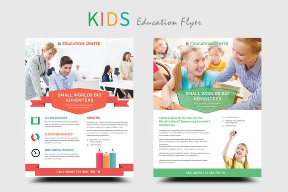 Kids Education/School Flyers by DeviserWeb on @creativemarket