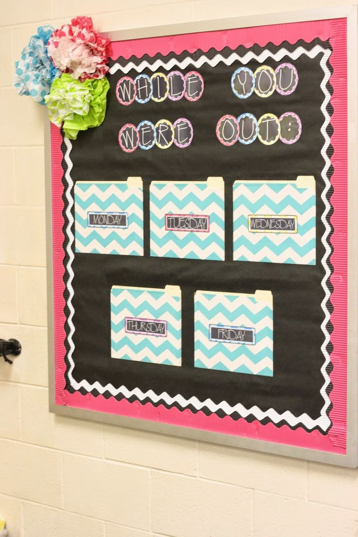 """""""While You Were Out"""" bulletin board.  Laminate them and write the date.  Kids can find copies of notes.  Also have a homework crate for HW worksheets + a model notebook"""
