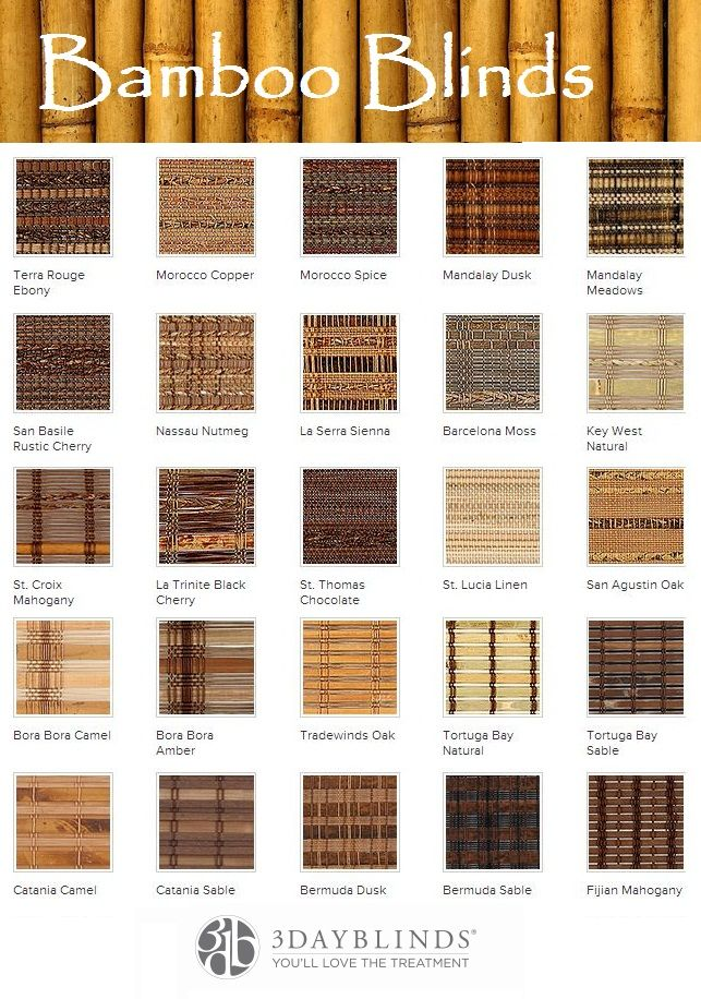 3 Day Blinds has an extensive assortment of Bamboo Blind blends.