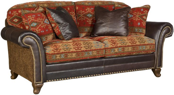 Elegant Leather And Tapestry Sofa Grand Living Room