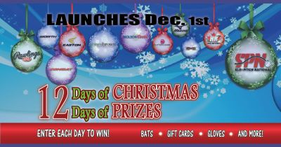 Enter the #SloPitchNational 12 Days of #Christmas 12 Days of Prizes #Bats #Gloves #iPad
