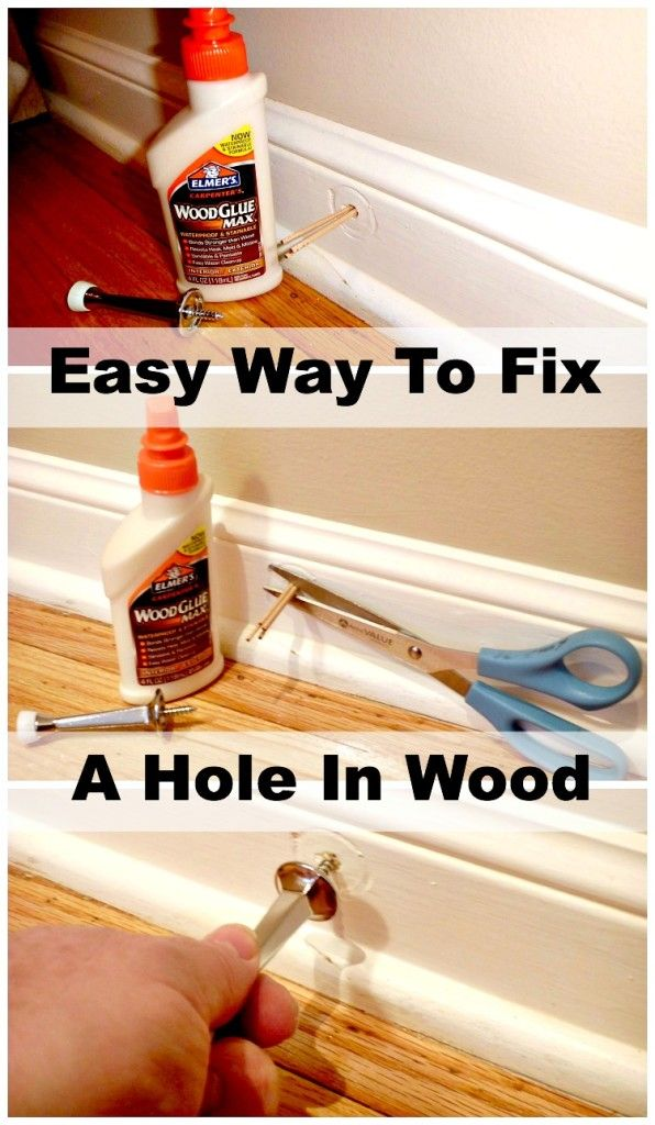 Using toothpicks and glue to fix a hole in your wood trim. So easy. www.chatfieldcourt.com