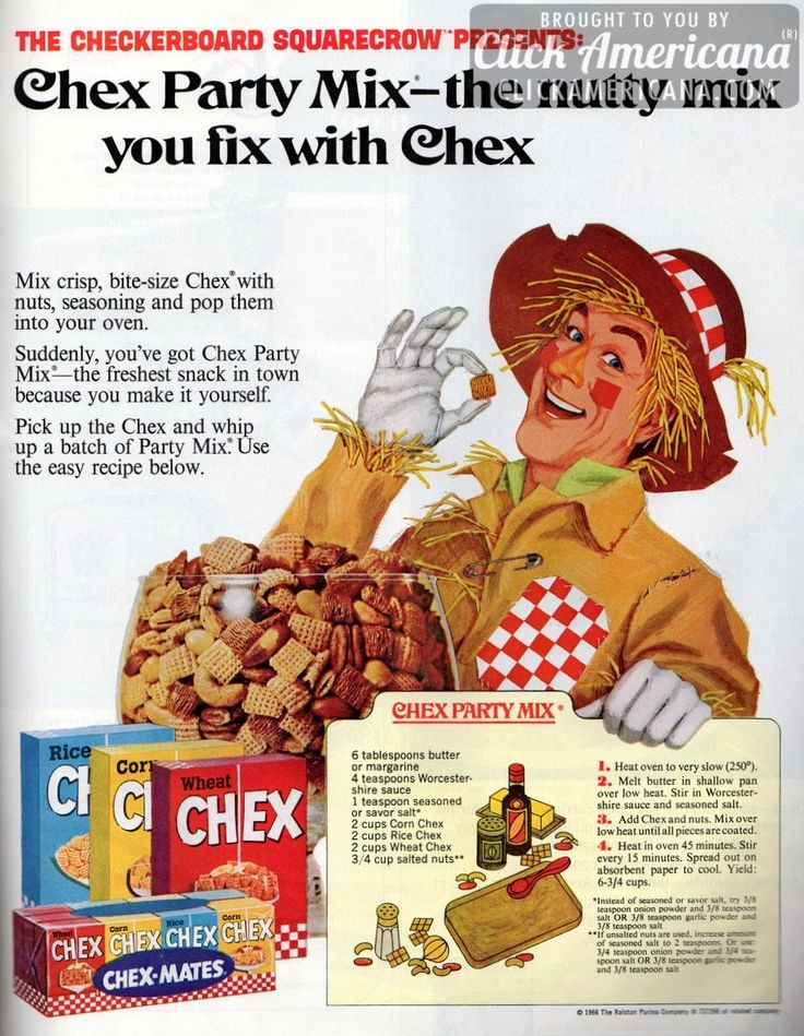 The Checkerboard Scarecrow presents: Chex party mix — The ORIGINAL Chex Mix! Before they packaged & sold it with the less flavorful spicing!!! This original version truly beats anything the manufacturer has since put out to the public!!!