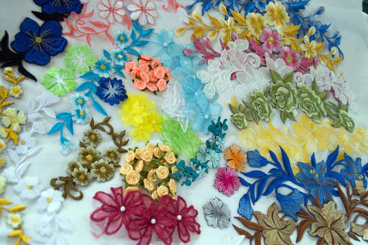 Applique Kit, AP003, 80 pieces, assorted colours, embroidered and organza by TheQuiltedCheese on Etsy