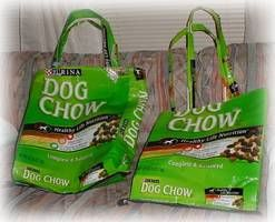 Recycle dog food bags into reusable shopping totes. (love it, do you know how many of these I have saved in my garage?!?!?)