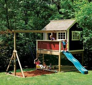 playhouse: Swing Sets, Swingset, Plays House, Playhouses Plans, Trees House, Kids, Outdoor Playhouses, Playhouse Plans, Swings Sets