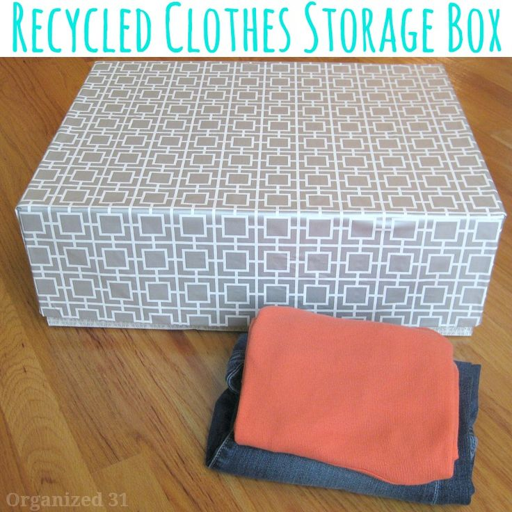 Personalize a recycled box to make your own diy clothes storage box. It's perfect for college dorms, small aparments or rooms without a closet.