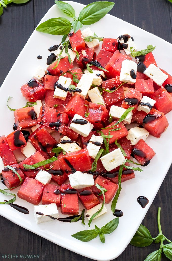 Sweet juicy watermelon paired with salty feta, fresh basil, and tart lime juice is a refreshing and easy to make summer salad.
