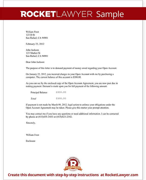 Demand Letter Template For Owed Money Claim Your Rocket Sample