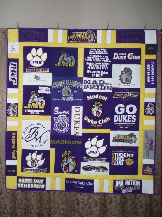Awesome Idea to save all your kiddos school spirit shirts or favorite team shirts through the years and make a quilt out of them!