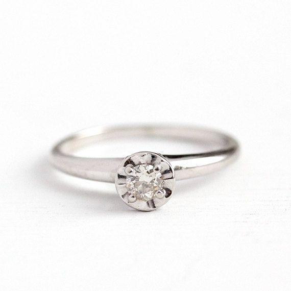 Sale Vintage Diamond Ring 14k White Gold 15 Carat Antique Wedding Rings Diamond Solitaire Engagement Ring Vintage Diamond Rings