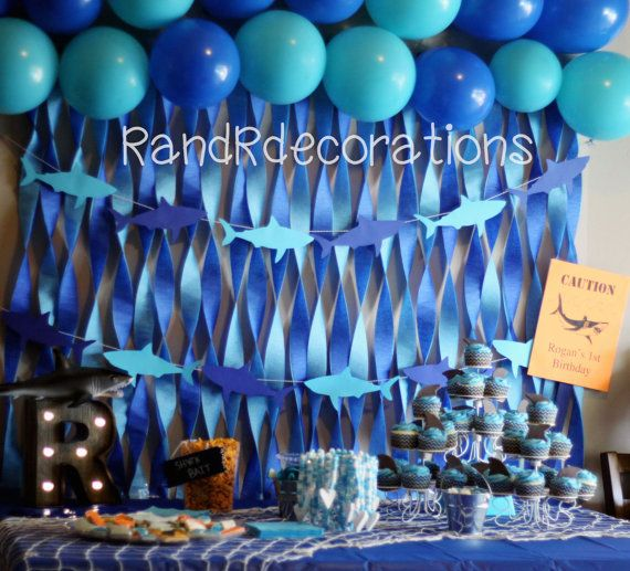 Shark Banner Birthday decorations  Shark by RandRdecorations