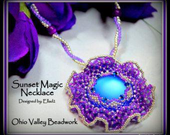 Sunset Magic Netted Handmade Beaded Necklace Lunasoft Cabochon Twisted Herringbone Chain Polaris Beads Blue Purple Silver Lupus Donation NEW