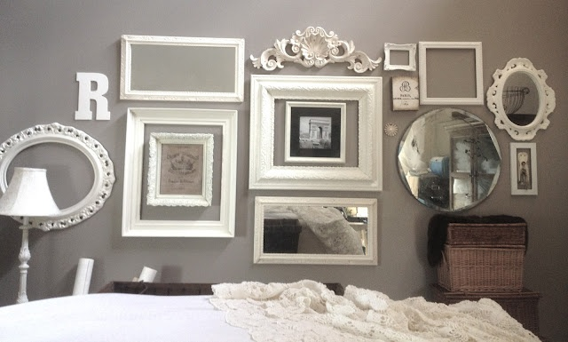 vintage/antique picture frames painted white.