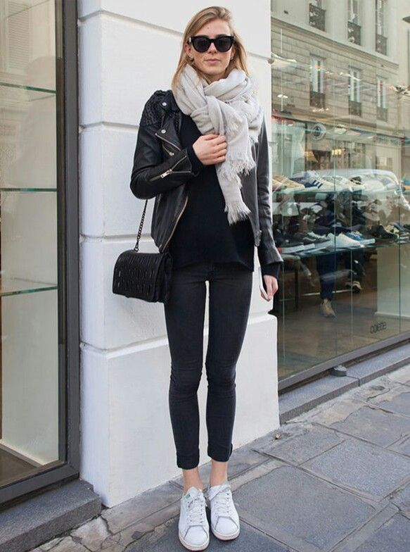 cropped black denim, black tee, moto/leather jacket, white sneakers, big scarf