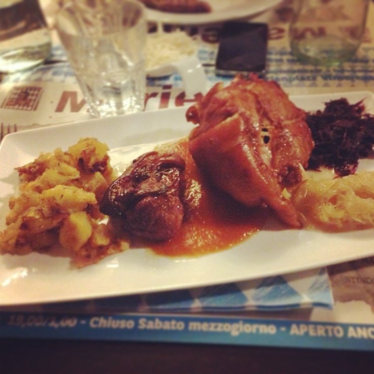 German dinner - Pork shank with potato and savoy cabbage.