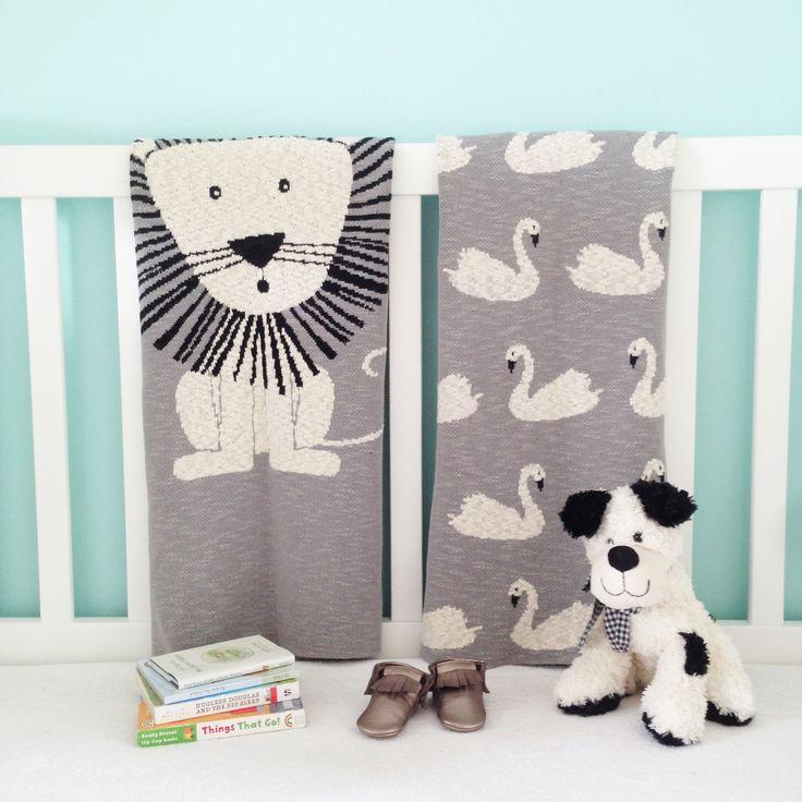 Lion + Swan Babies Blankets. 100% Cotton.  www.rosaliving.co.nz www.rosaliving.com.au