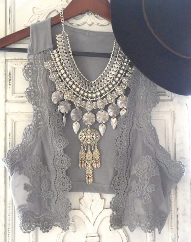 Romantic gypsy cowgirl lace vest, rustic prairie boho beach grey, cottage chic, womens clothing, hand dyed, upcycled, True rebel clothing