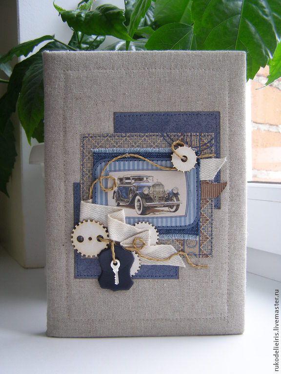 Блокнот мужской - блокнот,подарок мужчине,блокнот в мягкой обложке,тканевый переплёт