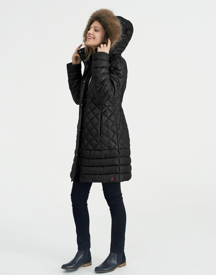Snowshill Black Padded Jacket | Joules UK