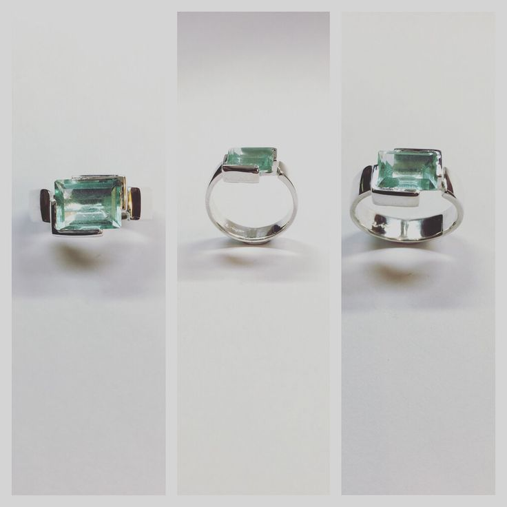Modern Silver and Aquamarine ring by Minette Arlow Jewellery