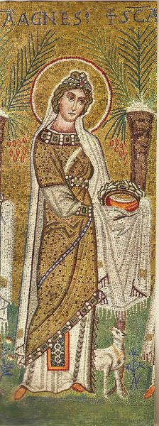 St. Agnes  Early Christian Mosaics from the Fourth to the Seventh Centuries: Rome, Naples, Milan, Ravenna.  Fourteen Plates in Color.  Translated from the German, 1946.  Jewelled belt, wrapped over dress, decorated underdress and fabric belt. Wonderfully complex hair style. I love it.