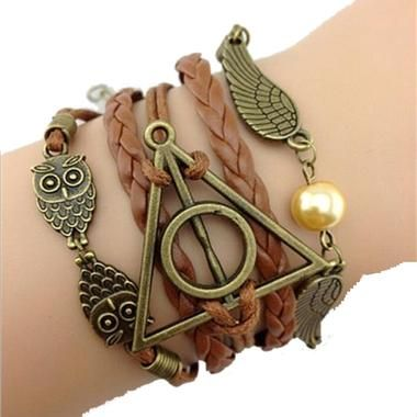 Bracelet infinity Harry Potter infini hiboux ailes d'ange Deathly Hollows