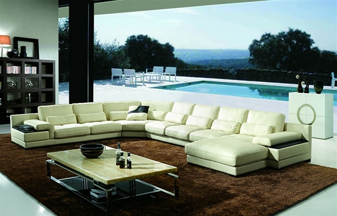 The International Leather Sectional Set