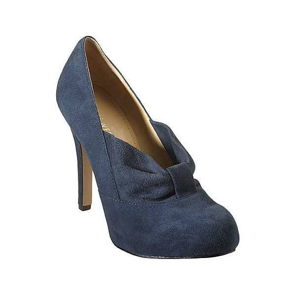 Nine West Verbenia suede shootie (NAVY) ($40) ❤ liked on Polyvore featuring shoes, boots, heels, sapatos, high heeled footwear, navy blue suede shoes, navy platform shoes, navy suede shoes and hidden platform shoes