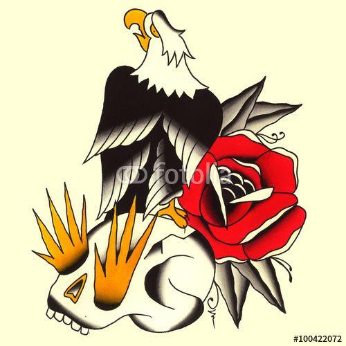 aquila con teschio e rosaIllustrazione Tatuaggio in stile old school