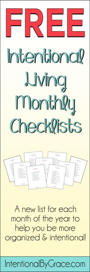 Free intentional living checklists from Intentional By Grace to help you be more organized and intentional.