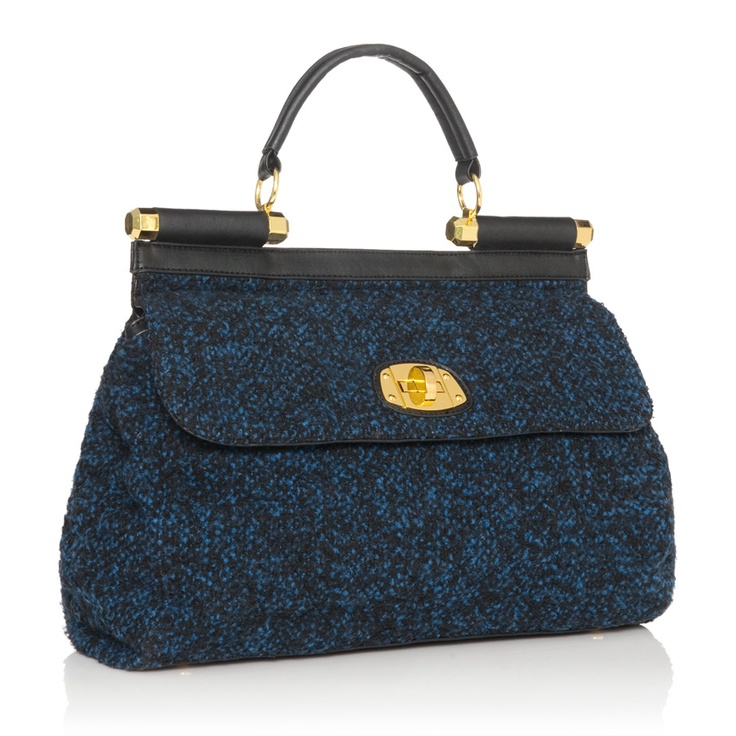 Dark Blue Tweed Bag with gold hardware/accents