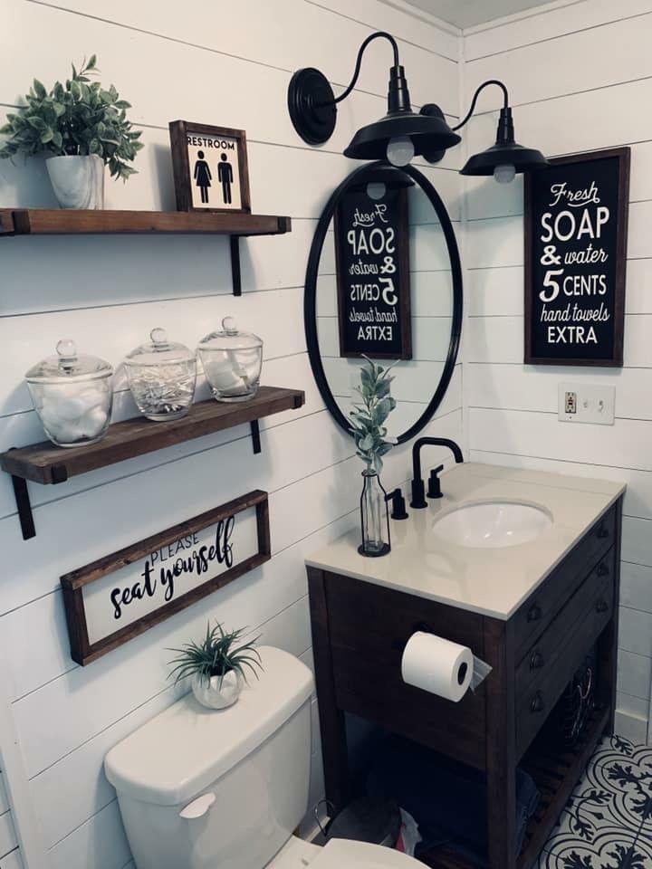 Farmhouse Bathroom Black And White Bathroom Decor Bathroom Decor Restroom Decor Farmhouse Bathroom Decor Black and tan bathroom decor