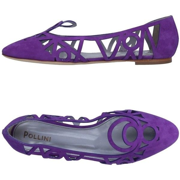 Pollini Ballet Flats ($225) ❤ liked on Polyvore featuring shoes, flats, purple, purple ballet flats, purple ballet shoes, animal shoes, leather sole shoes and skimmers shoes