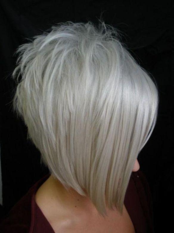 inverted bob haircut with grey