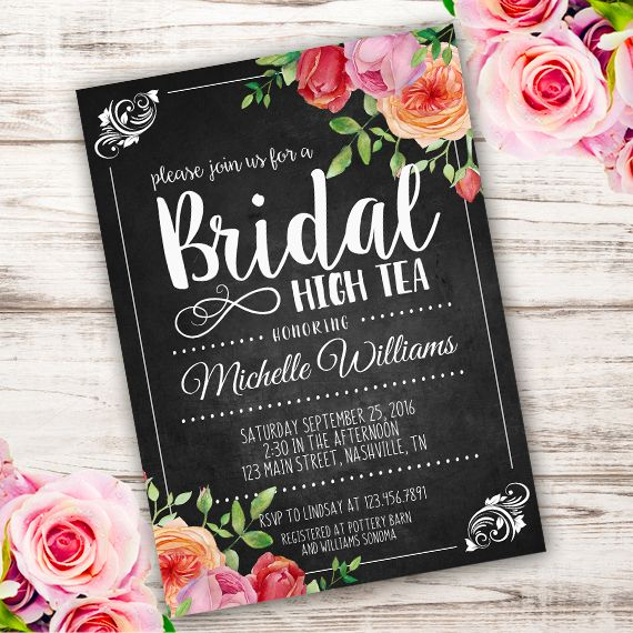 Printable Bridal High Tea Invitation Template. Invite your guests to your Bridal Shower with our printable invitations.