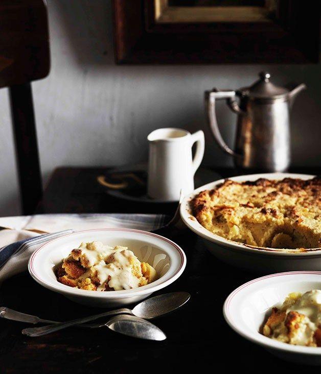 Heirloom apple pudding with vanilla custard - Gourmet Traveller