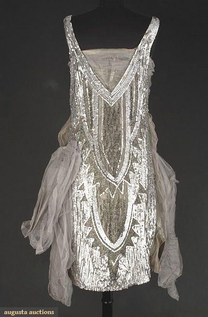 Party Dress of Grey Tulle over Pewter Lame, 1920s. (View 1)