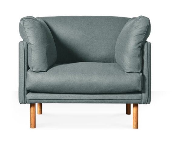 Product: Merano armchair in sky blue wool with oak feet, £549. SWOONEDITIONS.COM