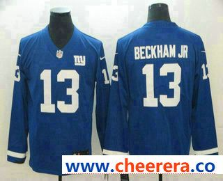 Hot Men's New York Giants #13 Odell Beckham Jr Nike Royal Therma Long  supplier