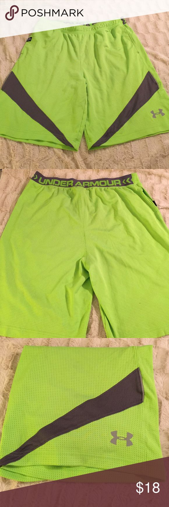 XL Under Armour green and gray shorts XL Under Armour neon green and gray NFL shorts Under Armour Shorts Athletic