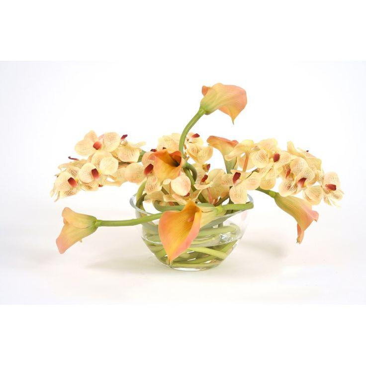 Distinctive Designs 15531 Waterlook Silk Rose-Cream Calla Lilies in a Large Glass Bowl