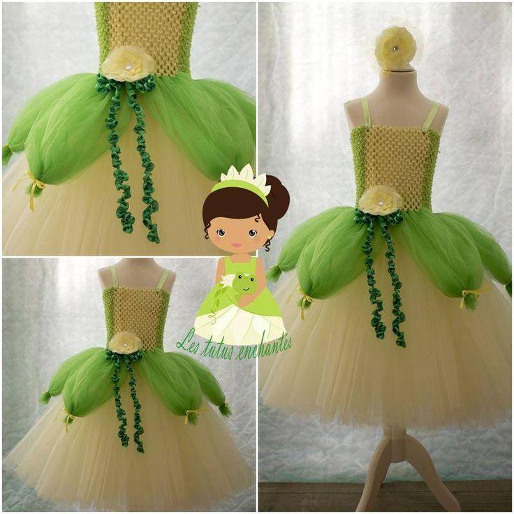 déguisement robe princesses Tiana 4/5 ans  - vêtements enfants - les tutus enchantés.com - Fait Maison