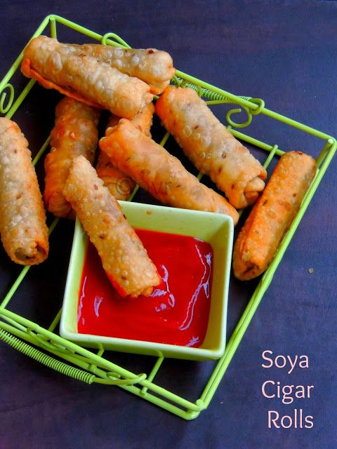 Soya Cigar Rolls For dough: 1cup All purpose flour 1tsp Cumin seeds 1/2tsp Baking powder Salt 1tbsp Olive oil Knead keep aside closed with a damp cloth for an hour. For Soya Kheema: 1cup Minced soya granules 2nos Onions 1/2cup mixed veggies 1tsp Ginger garlic paste 2nos Green chillies 1/2tsp Red chilly powder 1/2tsp Garam masala powder 1tsp Coriander powder kothmir 1/2tsp Fennel seeds Salt Oil