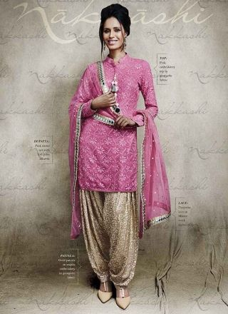 Amazing Pink Georgette With All Over Gold Bottom Salwar Suit http://www.angelnx.com/Salwar-Kameez/