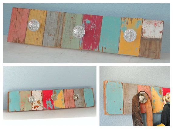 Reclaimed Wood Coat Rack - Made to Order from recycled antique and vintage wooden floor boards. on Etsy, $85.00